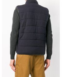 N.Peal Cashmere Gray Fur Lined Gilet for men