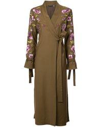 Josie Natori Green Embroidered Tie Front Duster Coat