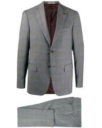 Pal Zileri Gray Tartan Print Single-breasted Suit for men