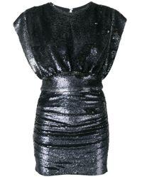 Robe courte brodée de sequins IRO en coloris Black