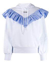 Sweat volanté à capuche MSGM en coloris White