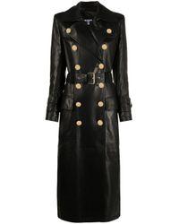 Abrigo con doble botonadura Balmain de color Black