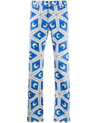 メンズ CASABLANCA プリント ストレートパンツ Blue
