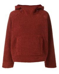 Vince Red Cozy Faux Shearling Hoodie
