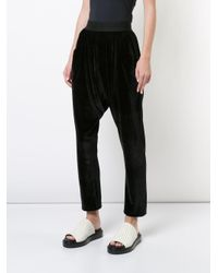Baja East Black Drop Crotch Cropped Trousers