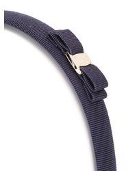 Ferragamo - Blue - Bow Hairband - Women - Cotton/plastic/rayon/brass - One Size - Lyst
