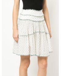 Zimmermann White Polka Dotted Tiered Skirt