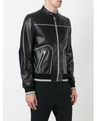 Dolce & Gabbana Black Contrast Trim Leather Jacket for men
