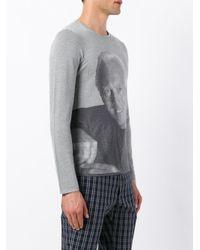 Giorgio Armani - Gray Photographic Knit Jumper for Men - Lyst