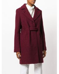 Carven - Red Notched Lapels Belted Coat - Lyst
