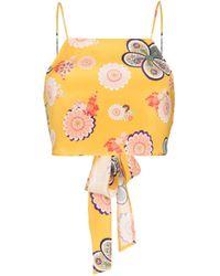 Racil Yellow Silk Floral Crop Top