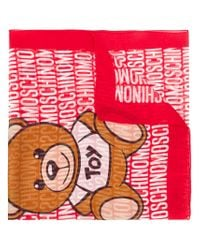 Moschino Red Toy Bear Scarf
