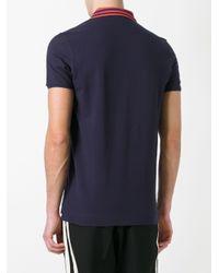 Fendi Blue Contrast Collar Polo Shirt for men