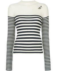 Tu Es Mon Tresor White Striped Fitted Sweater