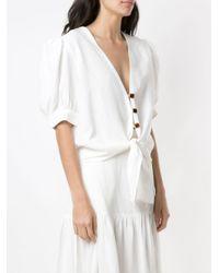 Camisa con cintura lazada Adriana Degreas de color White