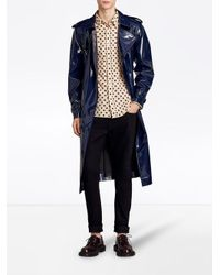 Burberry - Blue Laminated Trench Coat - Lyst