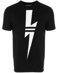 Neil Barrett Black Striped Lightning Bolt T-shirt for men