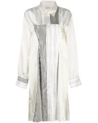 Nina Ricci White Striped Contrast Shirt Dress