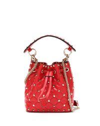 Valentino Garavani Red Rockstud Spike Bucket Bag