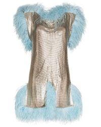 Christopher Kane フェザートリム ドレス Metallic