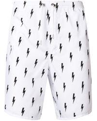 Neil Barrett - White Lightning Bolt Print Swim Shorts for Men - Lyst