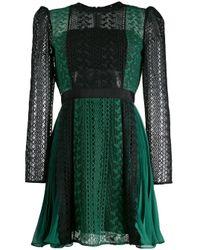 Embroidered empire line dress Self-Portrait de color Black