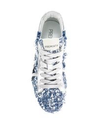 Premiata Blue Logo Textured Sneakers