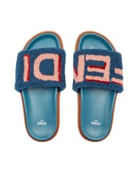 Fendi Blue Slides Slides