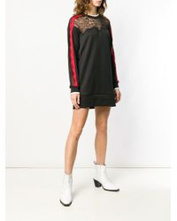 Vestido de encaje en contraste Pinko de color Black