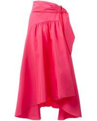 Peter Pilotto Pink Asymmetric Taffeta Midi Skirt