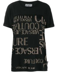 T-shirt con logo all-over di Versace Jeans in Black