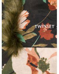 Twin Set Black Faux Fur Trim Floral Scarf