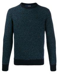 メンズ Lardini ヘリンボーン セーター Blue