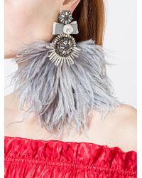 Ranjana Khan - Gray Feathered Oversized Earrings - Lyst