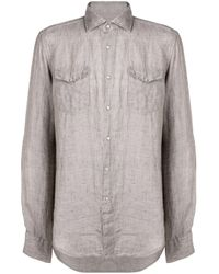 メンズ Dell'Oglio ダブルポケット シャツ Gray