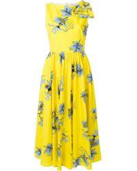 Vivetta Yellow Floral Flared Midi Dress