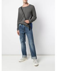 Onia Gray Miles Waffle Knit Henley Sweatshirt for men