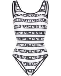 Balmain Black Badeanzug mit Logo-Streifen