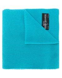 MSGM Blue Ribbed Knit Scarf