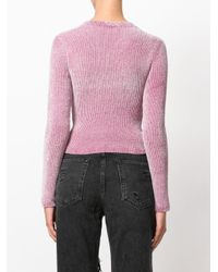 Alexander Wang - Pink 'vinyl Meltdown' Jacquard Cropped Chenille Sweater - Lyst