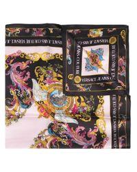 Foulard en soie à imprimé Tuileries Versace Jeans en coloris Black