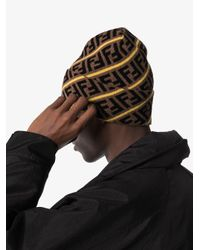 Bonnet à motif FF Fendi pour homme en coloris Brown