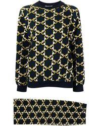 Hermès Blue Pre-owned Chain-print Sweatshirt And Skirt Set