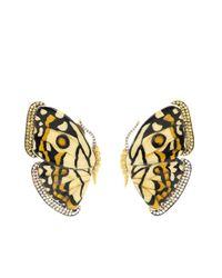 Pendientes Marquetry Butterfly en oro amarillo de 18kt con diamantes Silvia Furmanovich de color Metallic