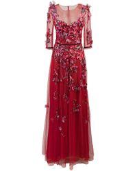 Vestido de tul con bordado floral Marchesa notte de color Red
