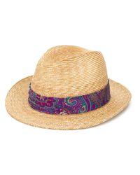 Соломенная Шляпа С Узором Пейсли Etro для него, цвет: Multicolor