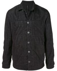 Transit Black Patch-pocket Chambray Shirt Jacket for men