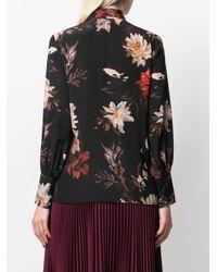L'Autre Chose Black Hemd mit Blumen-Print