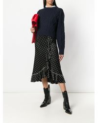3.1 Phillip Lim Blue Cropped Cable Knit Sweater