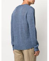 Altea Blue Crocheted Crewneck Jumper for men